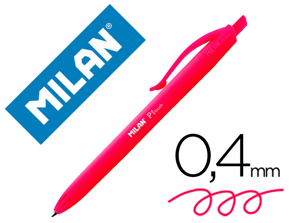 BOLIGRAFO MILAN P1 RETRACTIL 1 MM TOUCH ROJO