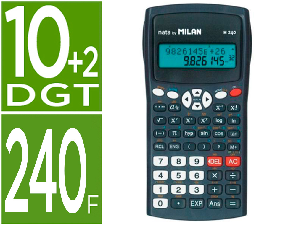 CALCULADORA MILAN CIENTIFICA M240 BLACK 2 LINEAS 240 FUNCIONES 10+2 DIGITOS COLOR NEGRA CON TAPA COLOR GRIS